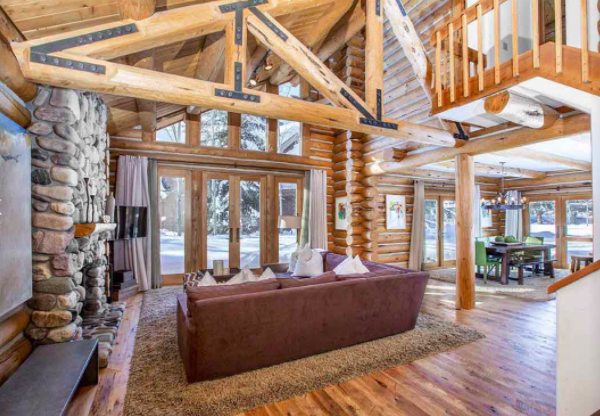 In a prized winter playground, this riverfront home is steps away from the chairlift to Bald Mountain Ski Area and 10 minutes' drive from the world-class Sun Valley Resort.