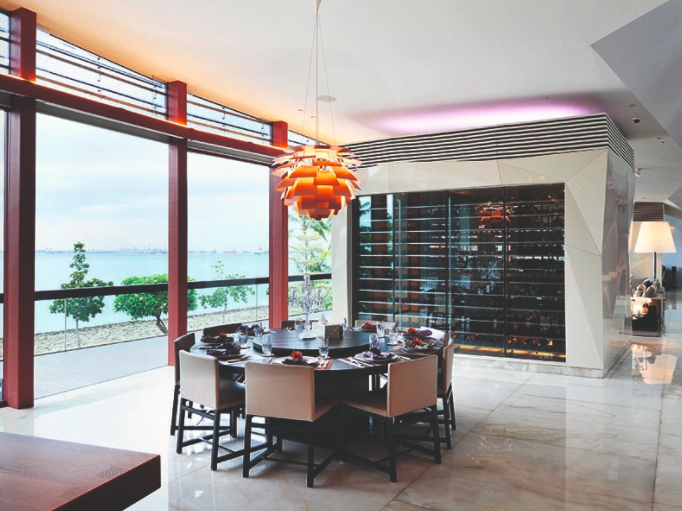The Copper House is situated on the island resort of Sentosa, just a short drive away from Singapore's mainland.  With expansive interiors spanning around 9,500 sq ft, the home enjoys 130 ft of water frontage, as well as dramatic panoramic sea views.