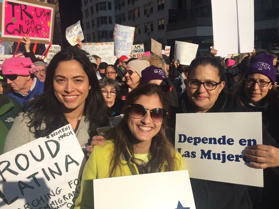 All three candidates at the Women's March in New York City.