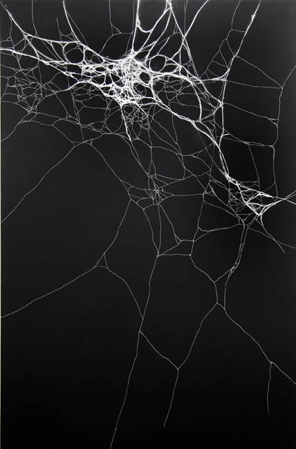 Infinity Field (All I Need) , 2013, chalk, oil stick and black acrylic on canvas, 230 x 150 cm.