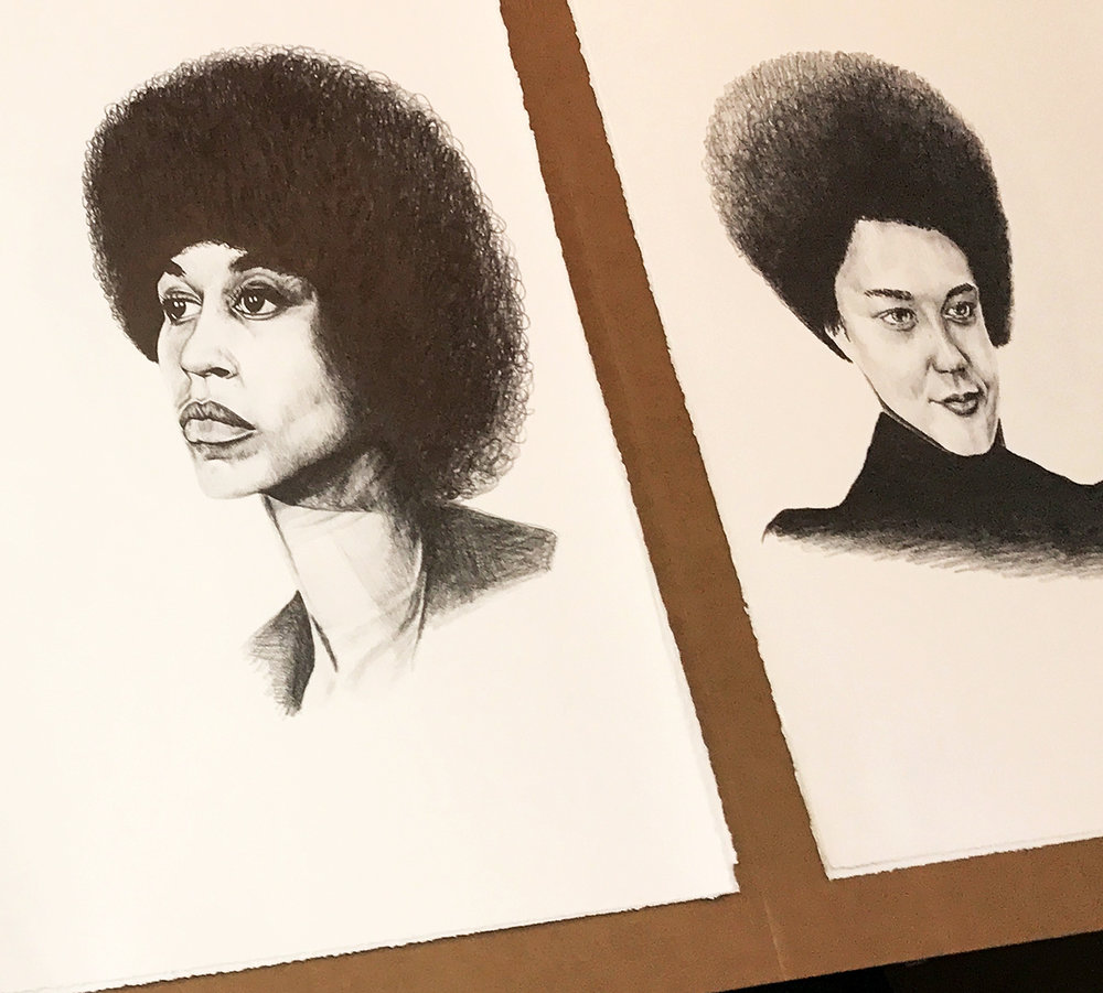 She Persisted (Angela Davis, Kathleen Cleaver) , 2017, work in the studio