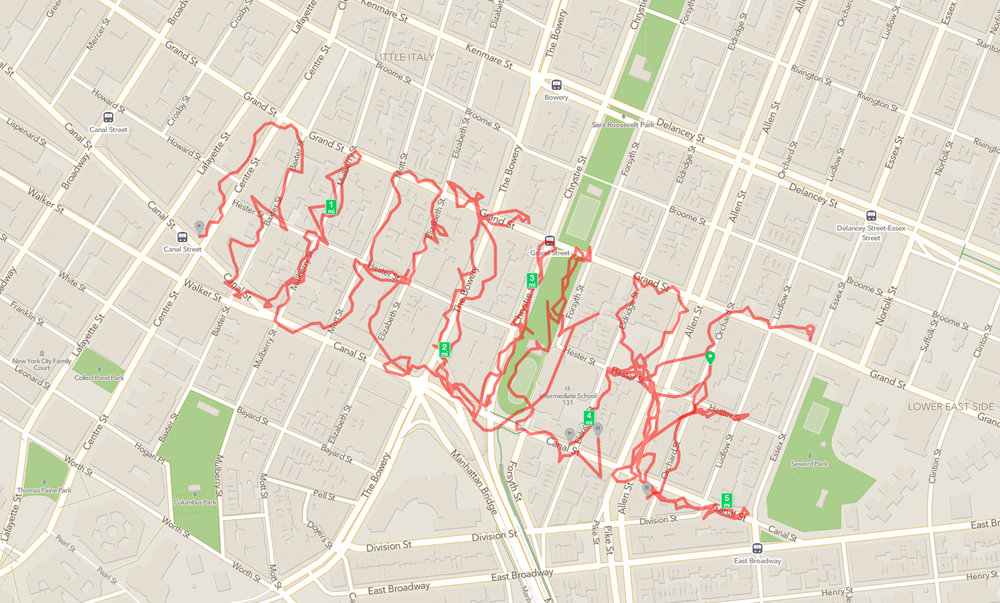 "The last walk of the series was with E.J. McAdams and we wrote the word ""NATURE"" on our GPS devices by tracing a walking route that spelt out N.A.T.U.R.E."
