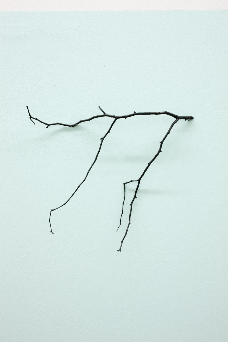The Golden Bough , 2010, Indian ink on twig, on painted wall.