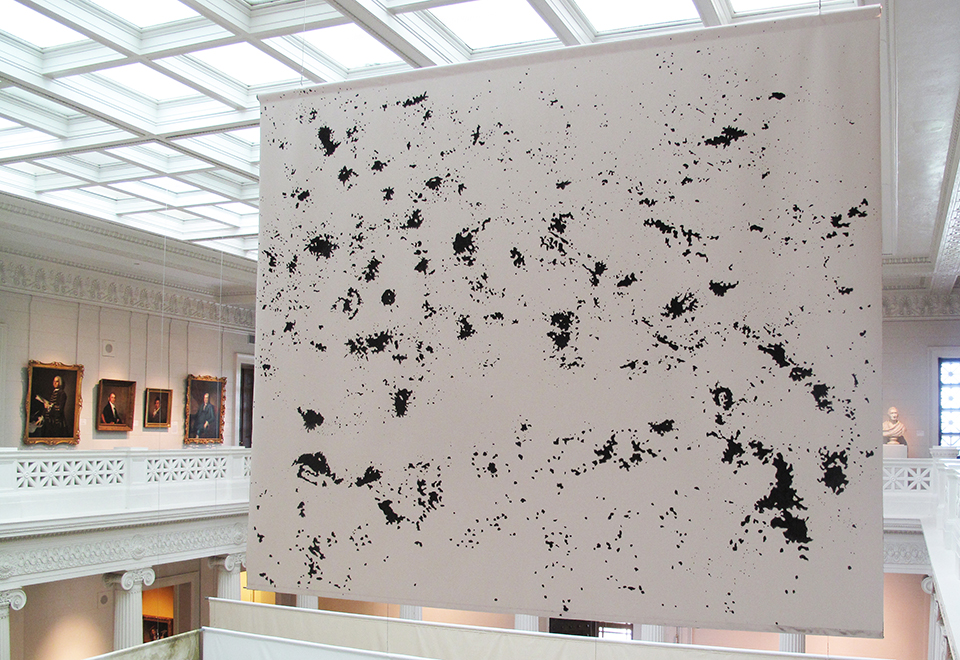 Constellations , (recto), 2012, graphite and charcoal on canvas, 10 x 12 feet.
