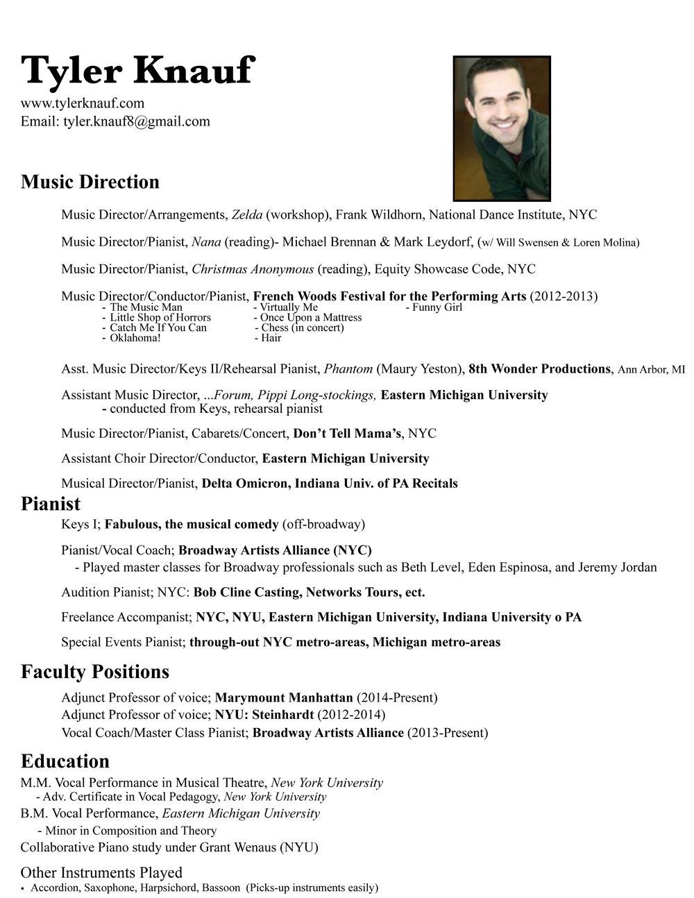 Music Director Pianist Tyler Knauf