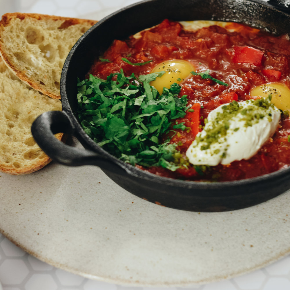 shakshuka with sour dough and yogurt