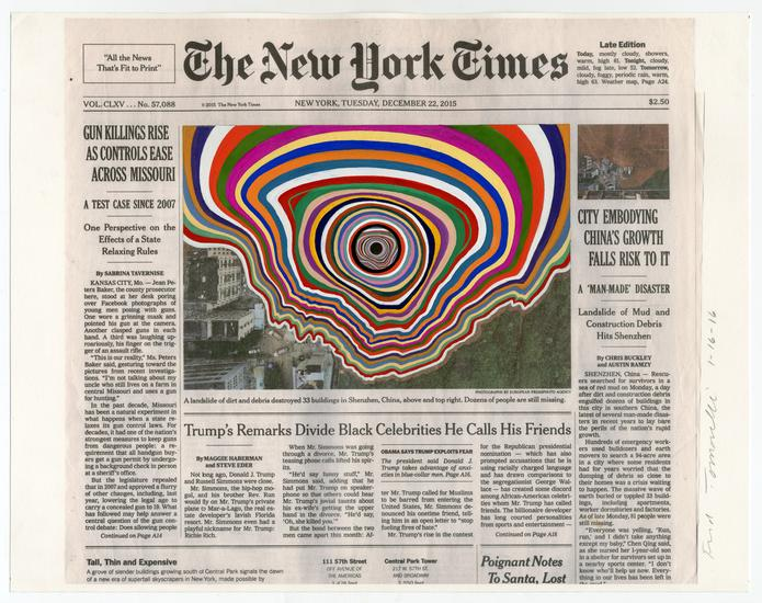 FRED TOMASELLI  Dec. 22, 2015 , 2016   Collage and gouache on watercolor paper   11 x 14 inches