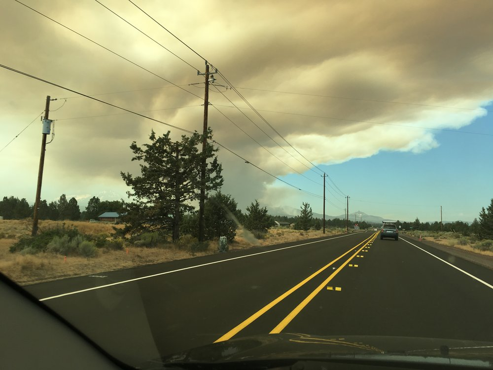 Forest fire smoke outside of Bend.