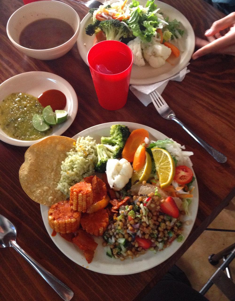 Buffet vegan à Morelia, Mexique