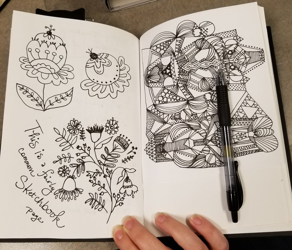 """This is NOT a fairly common Sketchbook page... this is one of the stronger ones!  Doodles on the left inspired by Dinara Mirtalipova's """" Imagine a Forest ,"""" check it out  here ."""
