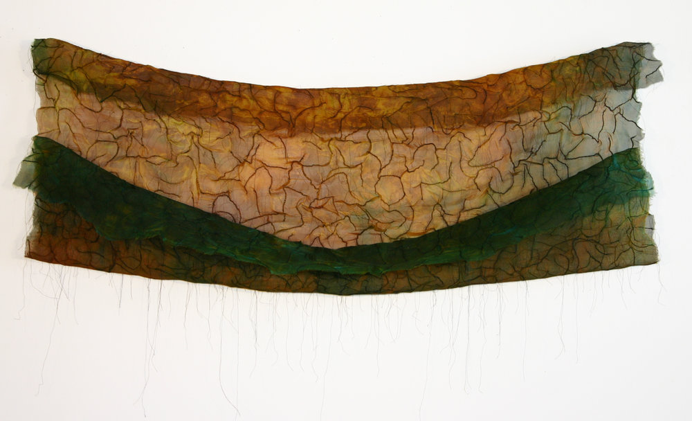 "The Field is Sown   Silk, dye, thread 30"" x 48"" 2010"