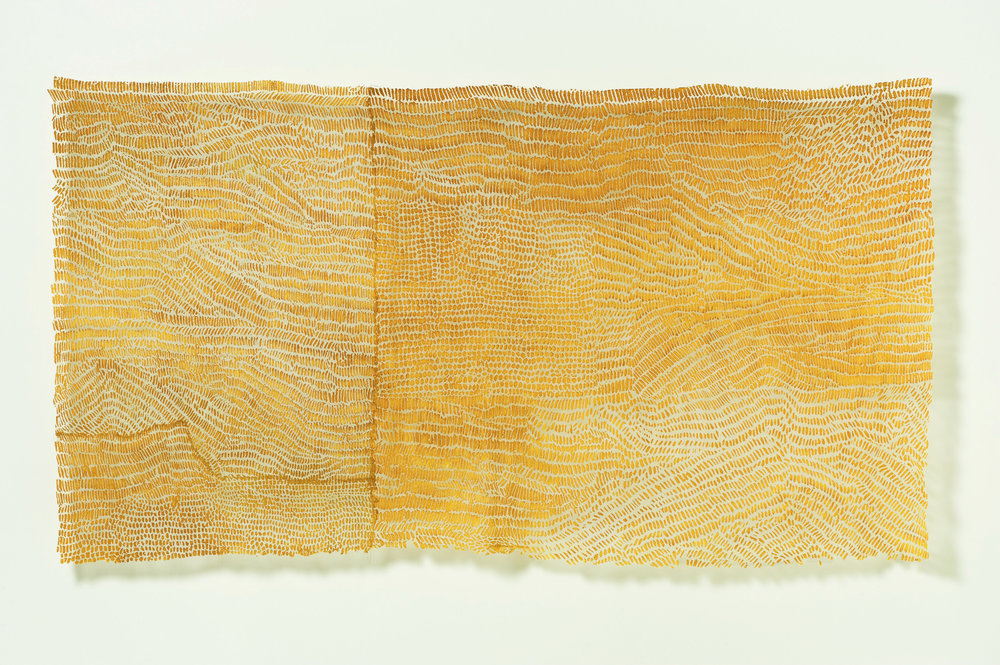 "a remnant: Helianthus   linen blend, gold leaf, thread, / dyed, hand-stitched, devoré 48"" x 84"" 2011"