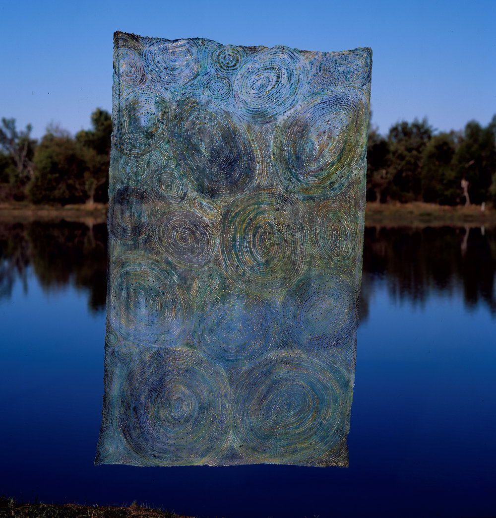 "Soulskin: Sun, Lake, Dragonfly   linen blend, pigment, gold leaf / dyed, devoré 90"" x 54"" 2000"
