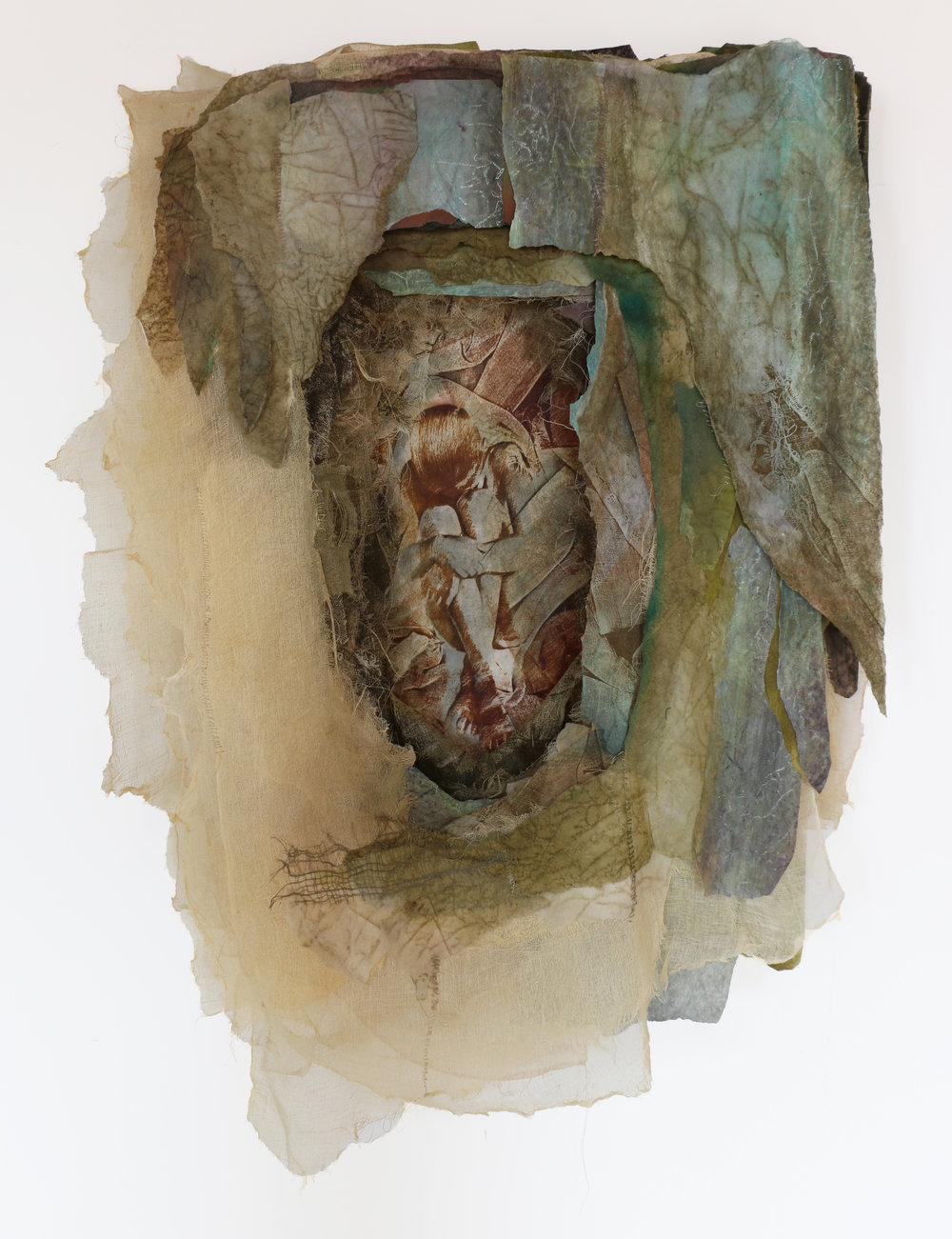 "Tell Your Own Story cotton, silk, nylon, synthetic fiber, pigment, thread 42"" x 29"" x 6"". 1992"
