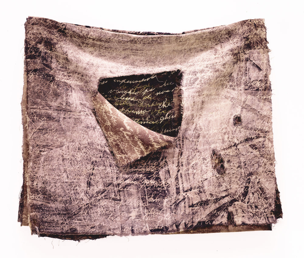 "Damiana's Cloth   rayon, silk, thread 22"" x 25"" x2.5""  1992"