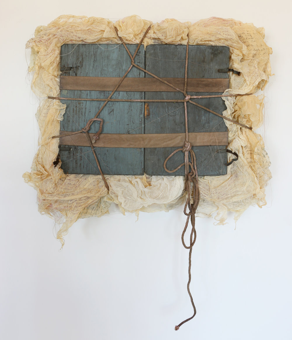 """Untapped   cotton, wood, rope, pigment, thread 30"""" x 33"""" x 8"""" 1993"""