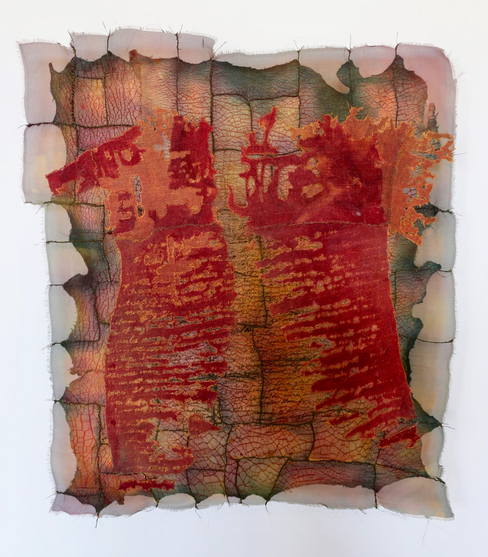 "Soulskin:Listening to Julia   linen, silk, cotton, thread / dye 29"" x 26"" 1995"