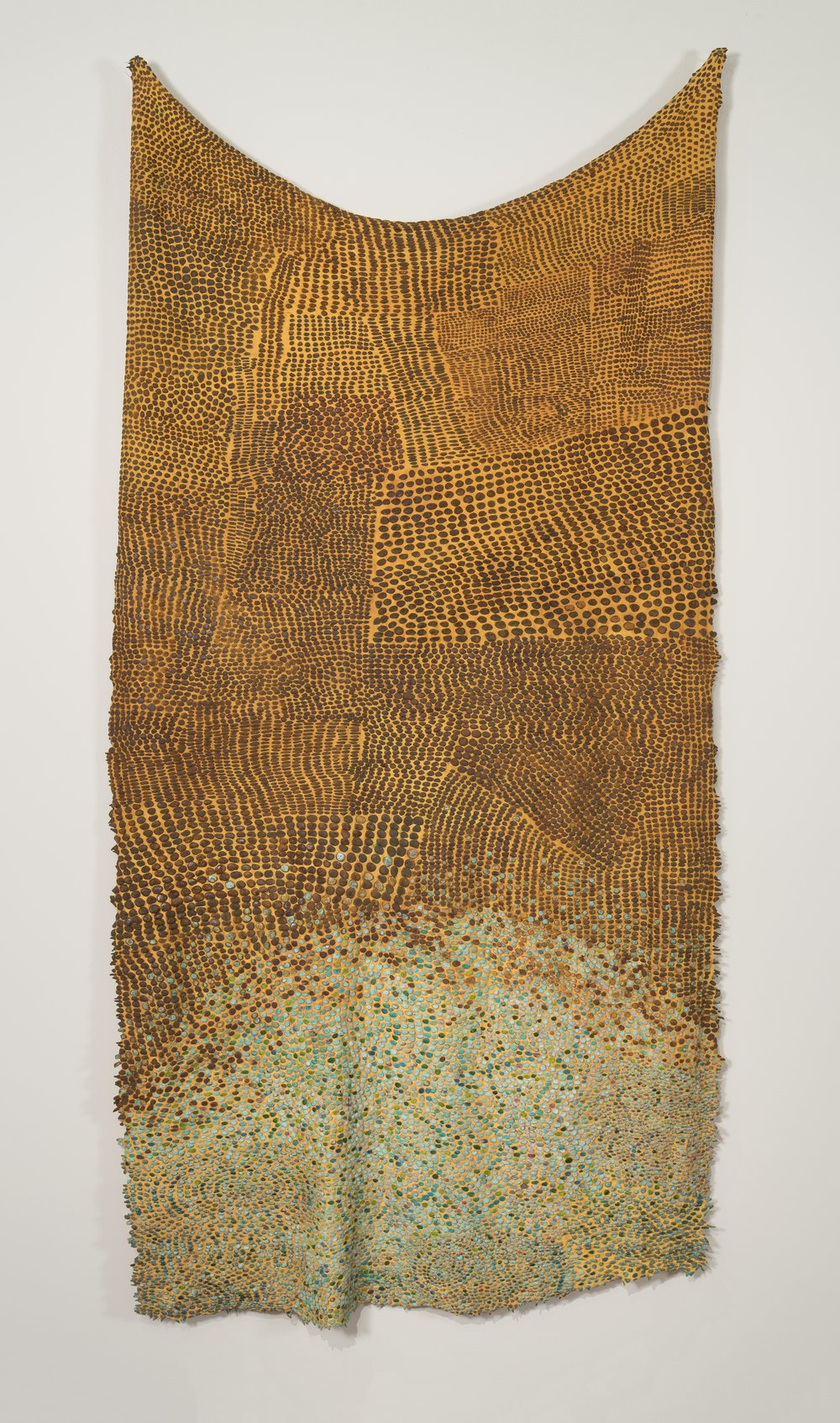 "Soulskin: Seeding the Prairie   nylon, iron, copper, pigment / manual cloqué  82"" x 42"" 1999"