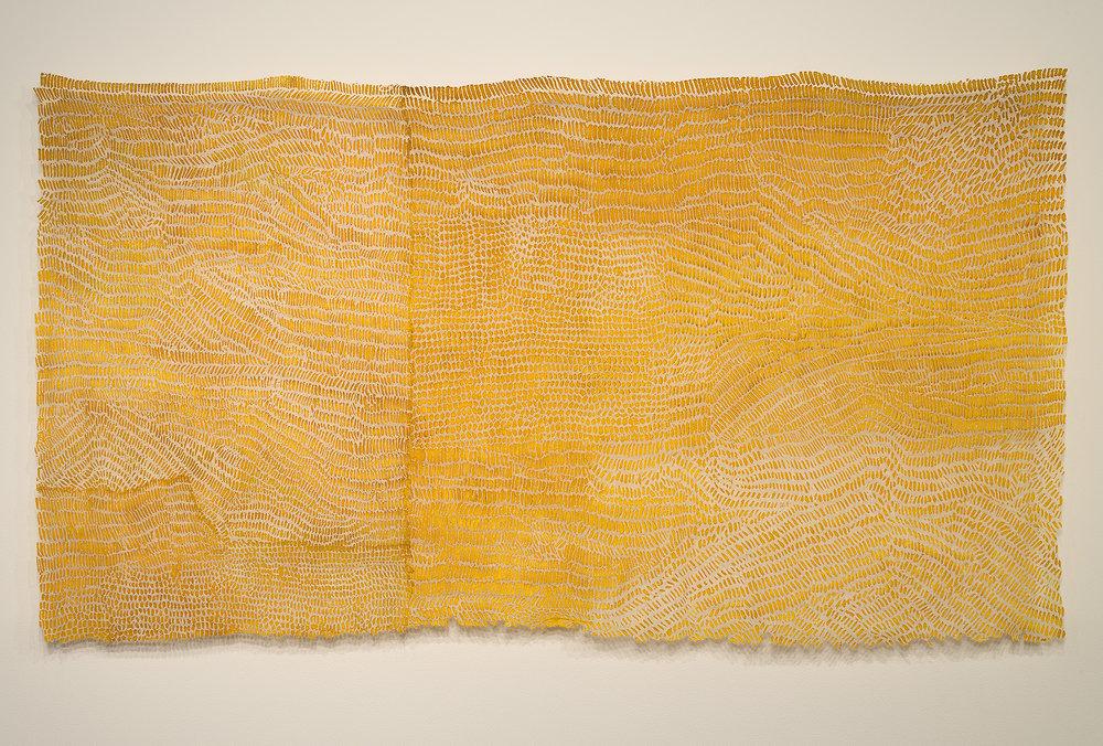 "a remnant: Helianthus   linen blend, gold leaf, thread, / dyed, hand-stitched, devoré 48"" x 84"" 2011"