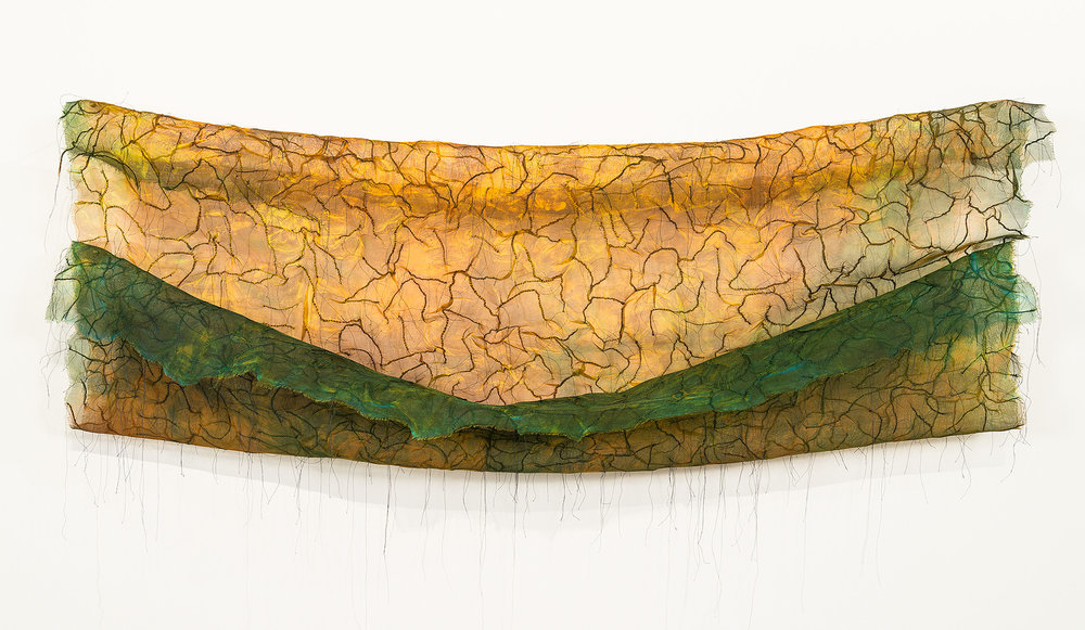 "The Field is Sown   Silk, thread / dyed, hand-stitched 30"" x 48"" 2010"
