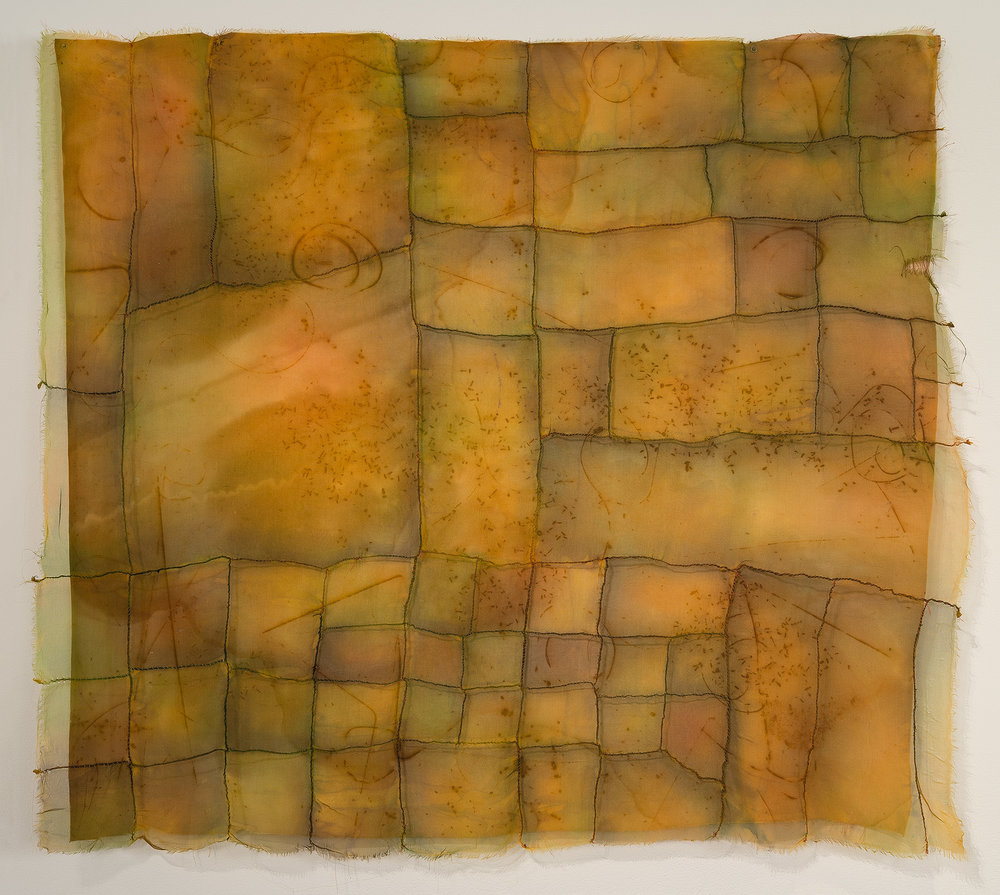"Beneath   cotton, silk, iron oxide, thread / dyed, hand-stitched   36"" x 40"" 2002"