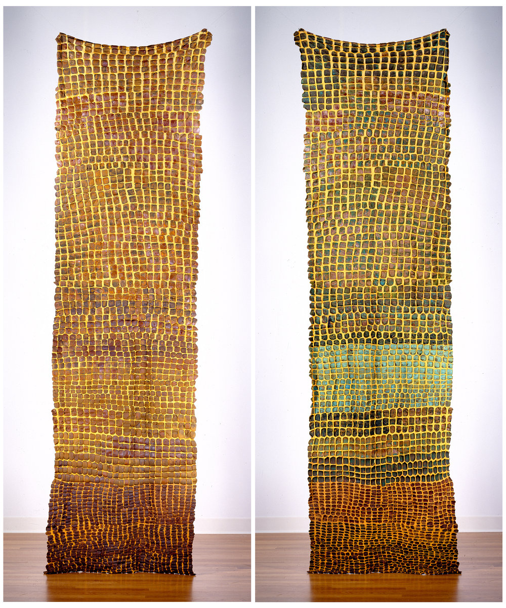 "Generations  Side I (LEFT)  Generations  Side II (RIGHT)  nylon, iron, copper, pigment / manual cloqué  117"" x 32"" 2000"