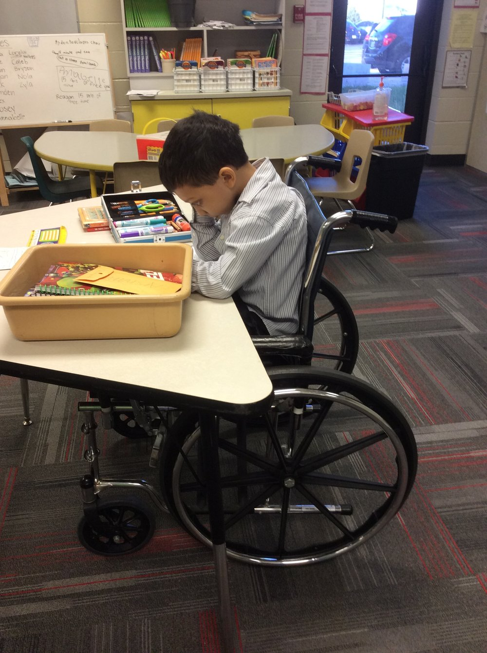 Wheelchairs can be used to access desks and writing surfaces