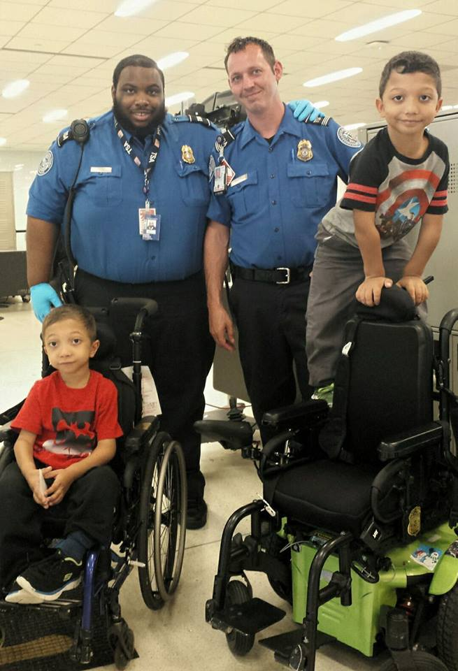 Officer Sullivan and Andre with the #Adamboys at Philly airport during a Miracle Flight to Nemours Children's Hospital, Delaware.