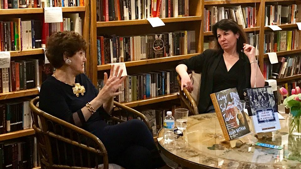 Joan Nathan and Nina Barrett at Bookends & Beginnings. (Photo by Jeff Garrett.)