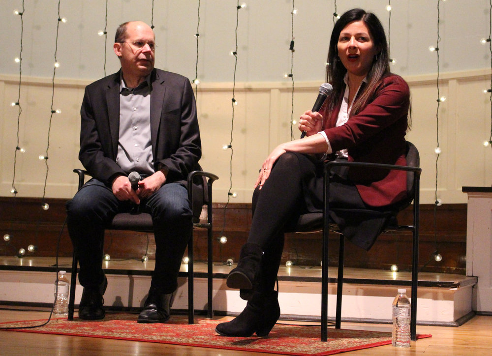Alex Kotlowitz and Jennifer Lackey at Sojourner Covenant Church. (Photo by Lynn Haller.)