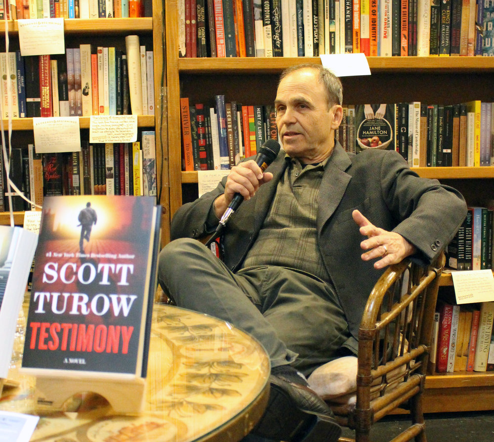 Scott Turow at Bookends & Beginnings. (Photo by Lynn Haller.)