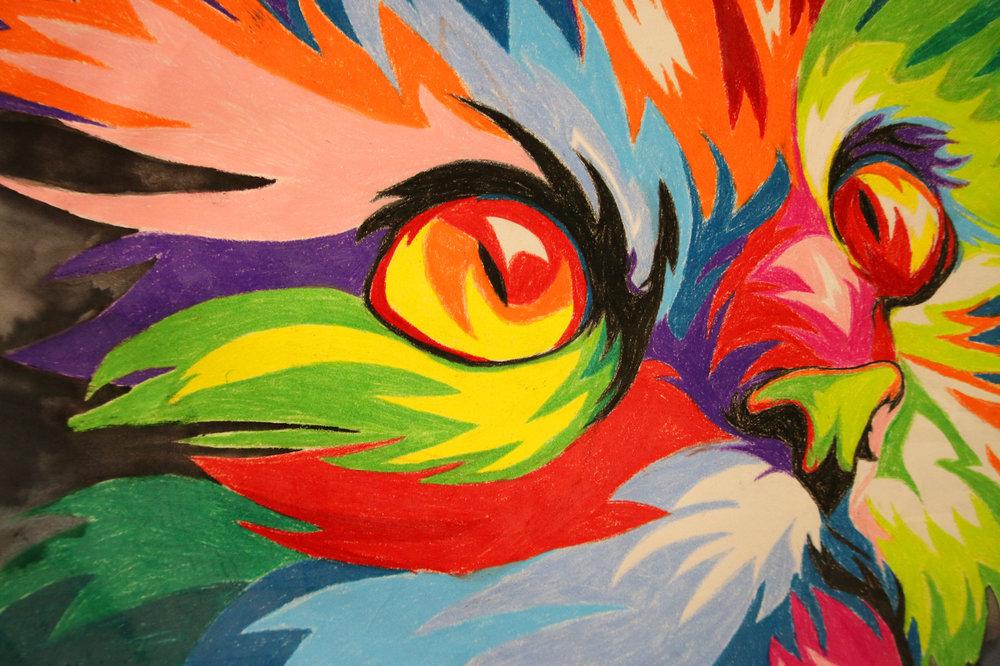 """""""Party Cat""""by Mary Alice Walton, 12th Grade, Watercolor"""