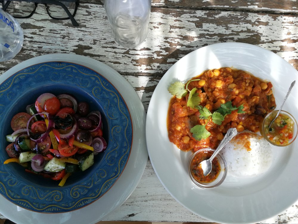 Lunch at Pascal's in Napier: A delicious lentil dhal with rice and sambals and a greek salad (minus the feta)