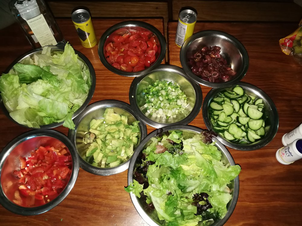 Green salad of lettuce, tomato, pepper, cucumber, spring onion and avocado. All salad ingredients were kept separate as we had a couple of fussy veg eaters in our group