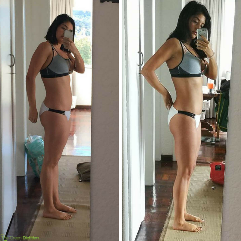 Left:  After losing 15kg's I still didn't feel comfortable wearing a bikini and still had a high body fat %.     Right:  With the right training and diet plan I dropped 6% body fat. There is only a 3kg weight difference between the two pictures.