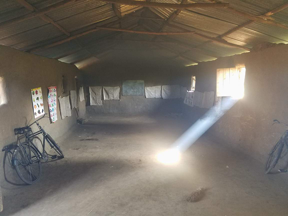This is a typical church/classroom with no electrical power.