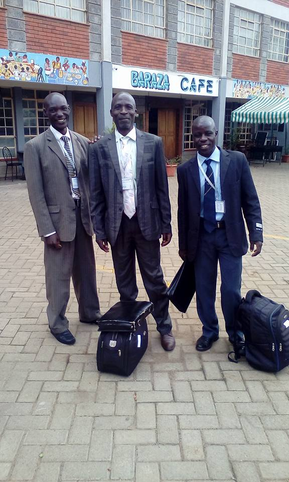 Leonard from Bungoma on the left along with Moses and Moses from Moi's Bridge.
