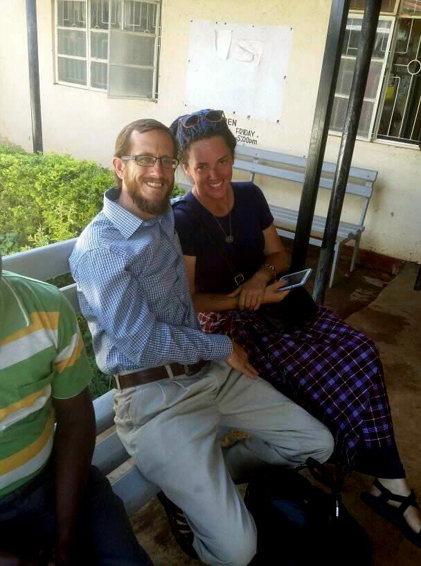 Jeff and Stephanie Bys at at local hospital with Kepha and Nickson their faithful assistants and boda boda (Motorcycle) drivers.