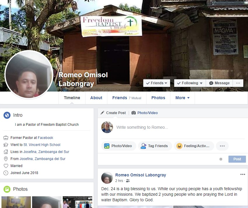 Get to know Pastor Romeo by visiting his Facebook timeline and connecting as a friend. click above image to visit his timeline