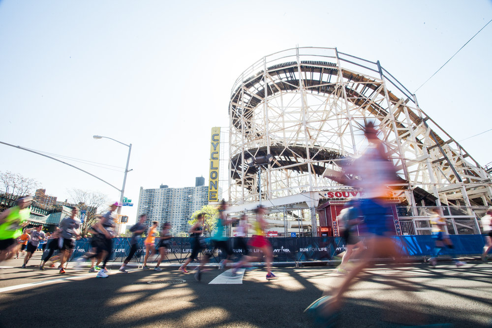 Run past the Brooklyn Cyclone on mile 13, then take a ride after your race!