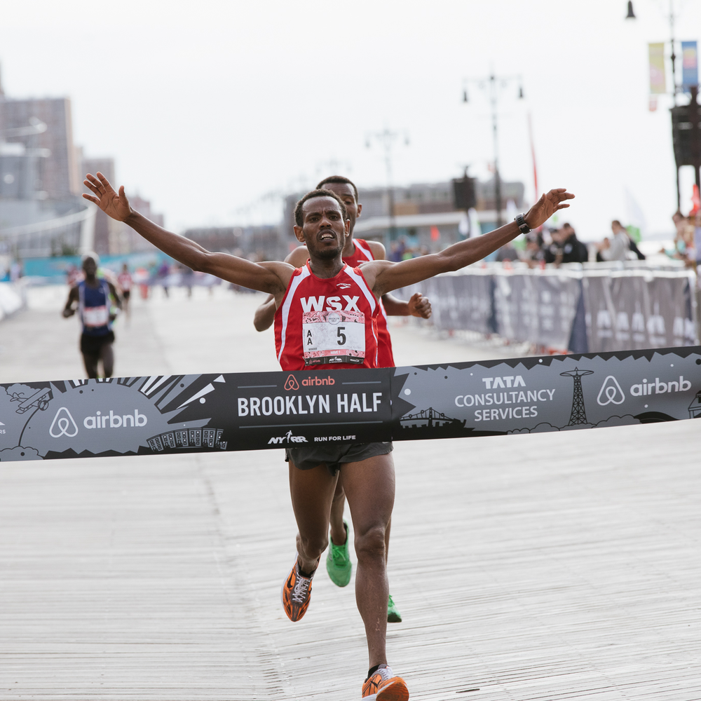 .8 - Seconds that separated men's winner Girma Bekele Gebre from the race's second-place male finisher. Gebre improved upon his seventh-place finish at 2016 Airbnb Brooklyn Half (1:05:15) with a 1:04:56 finish on Saturday.