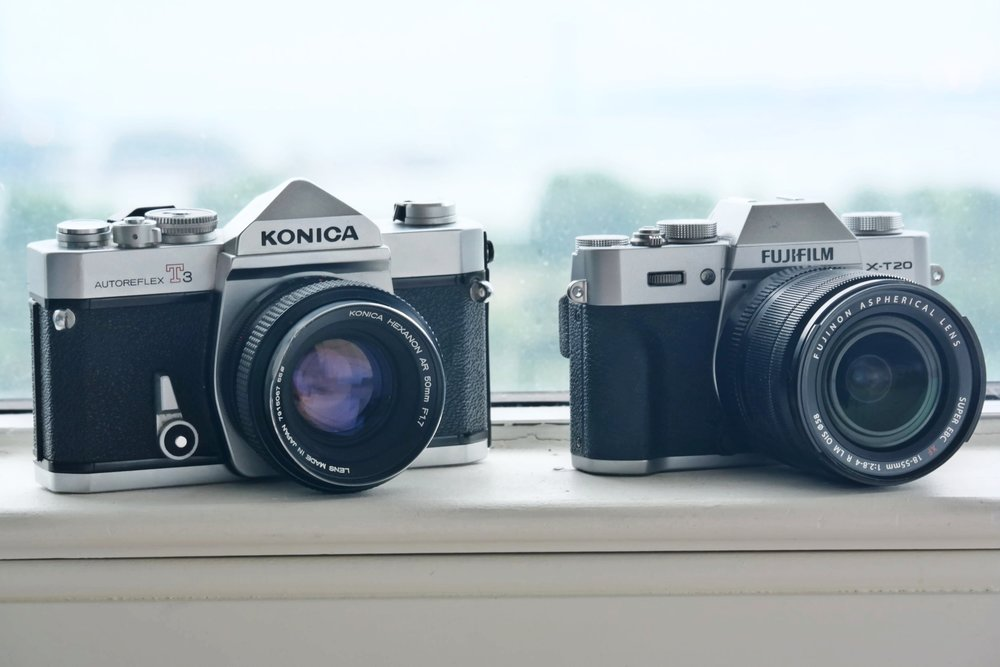 At left, a film camera from 1973 At right, a digital camera from 2017 Camera design's come a long way in 40 years, eh?