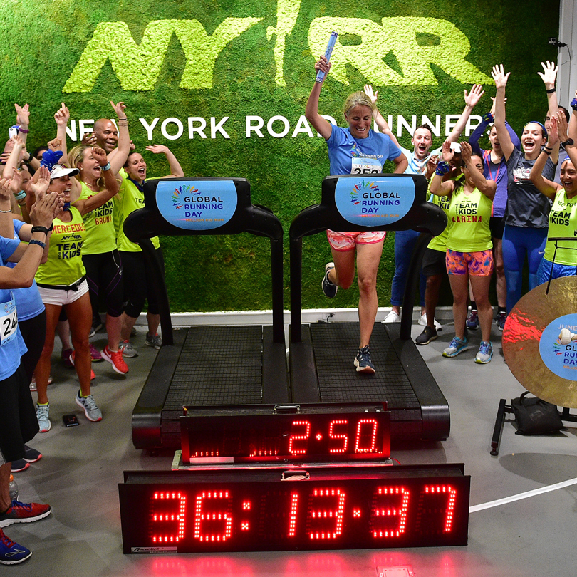 36:13:37 - The consecutive hours run by the 250 participants in the NYRR Global Running Day Treadmill Challenge. Each runner logged one mile at 9:41 pace or faster.