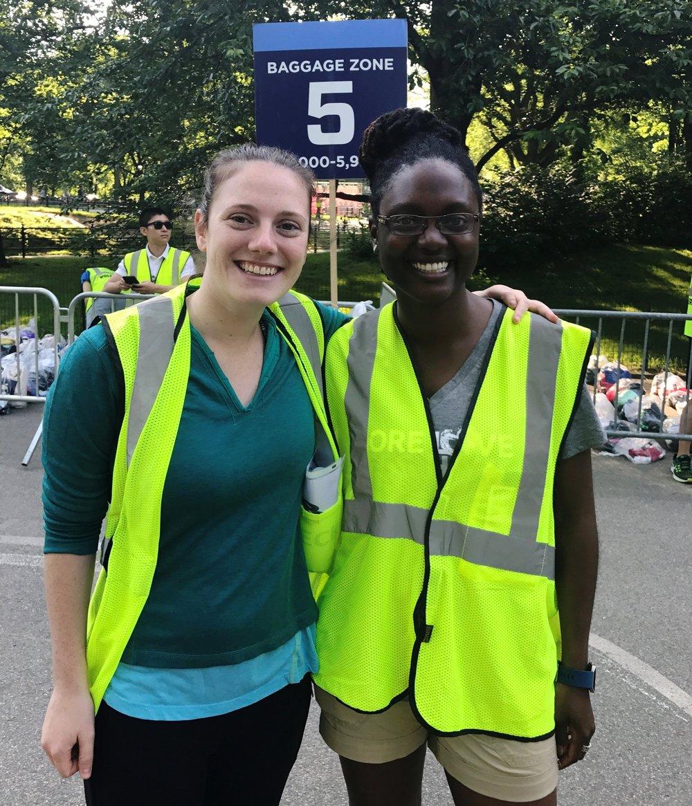 Katelyn Yannie, left, and fellow volunteer Afifa Ansari kept bags super organized at the NYRR New York Mini 10K on June 10.