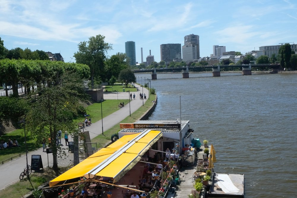 Frankfurt, Germany offers a riverside path on both sides of the Main—with a few refueling options along the way!