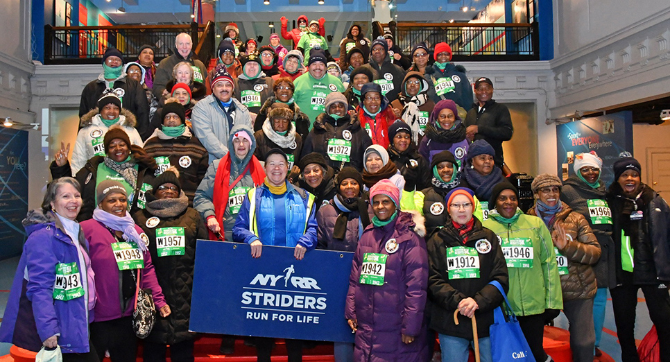 NYRR Striders stayed warm before the start of the NYRR Washington Heights Salsa, Blues, and Shamrocks 5K on March 5, 2017.