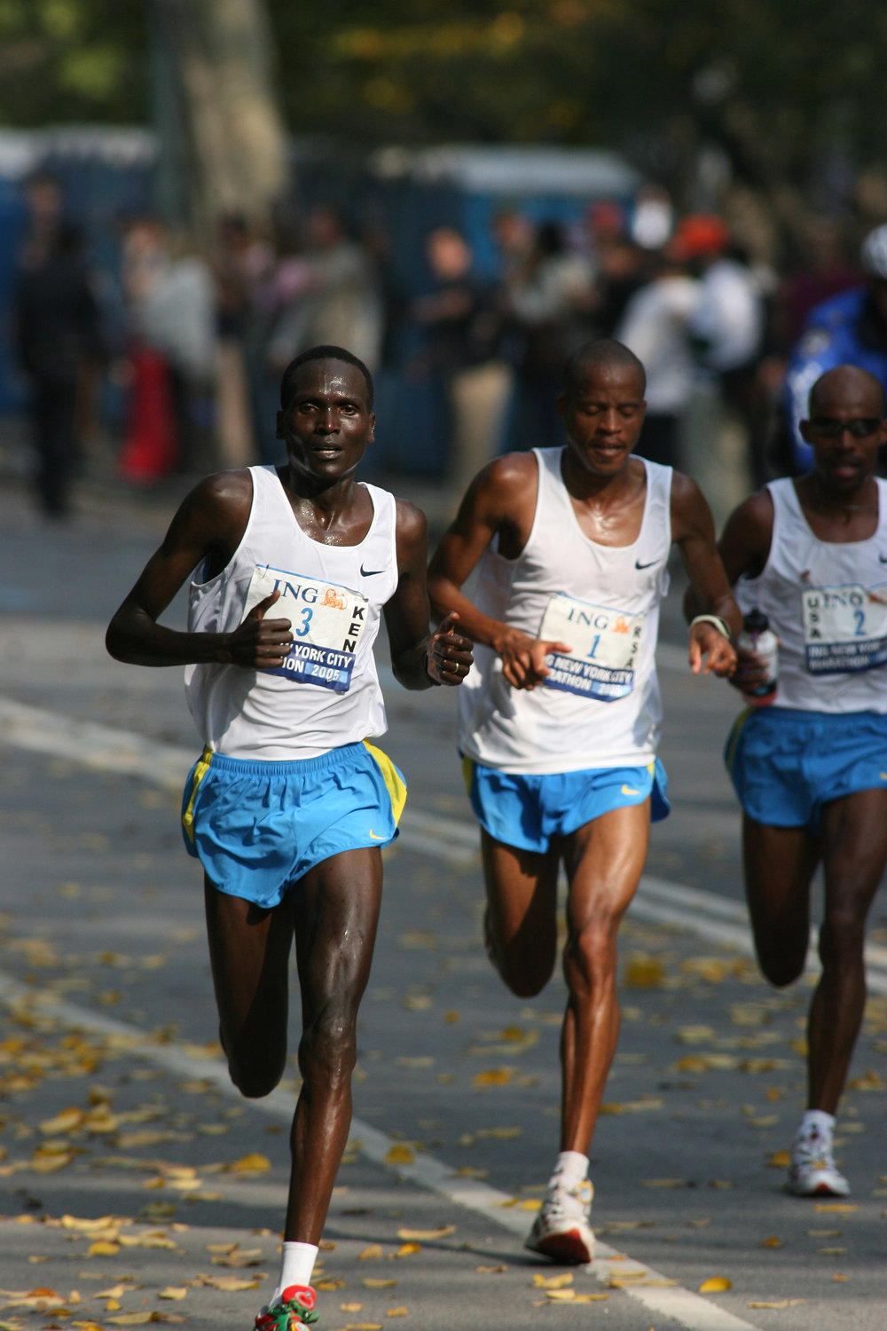Racing through Central Park, the race's top three bib numbers held the top three places.