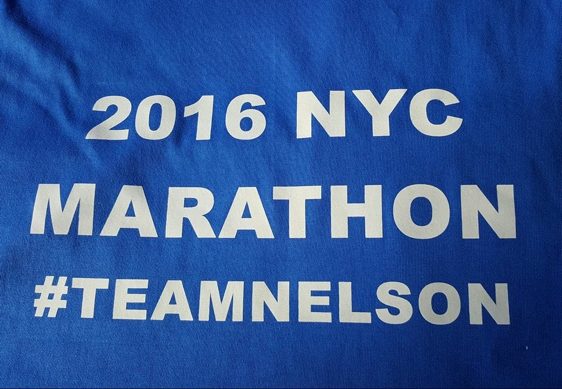 Alyssa's family had made T-shirts to support Nelson on race day.