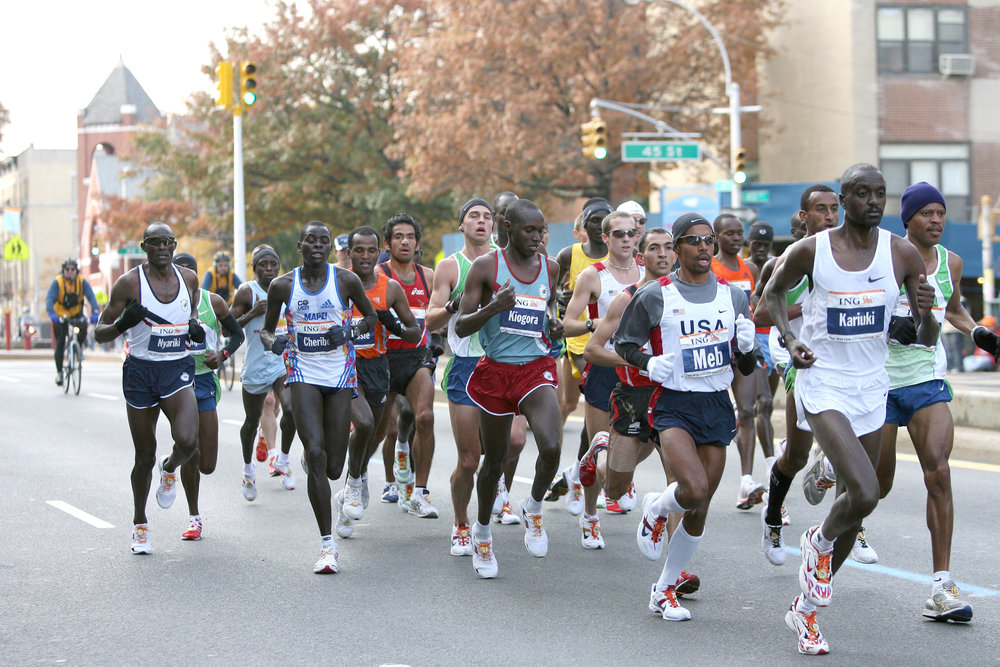Keflezighi placing himself in the lead pack through Sunset Park in Brooklyn.