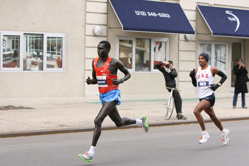 Keeping in contact with Cheruiyot through the Bronx